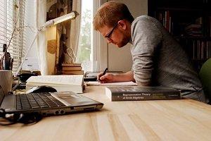 man studying